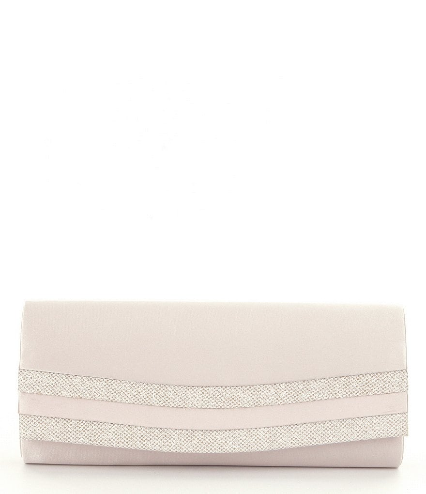 Kate Landry Satin & Glitter Flap Clutch