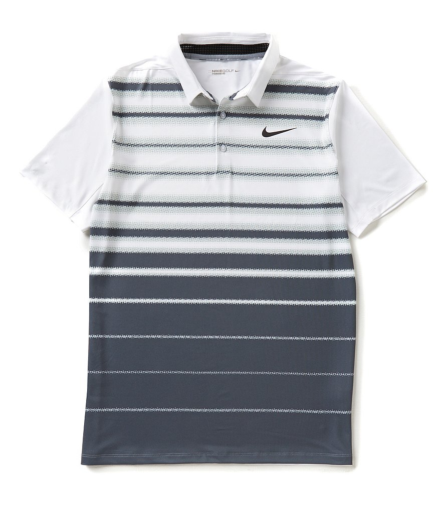 Nike Golf Short-Sleeve Mobility Fade Horizontal-Stripe Polo Shirt