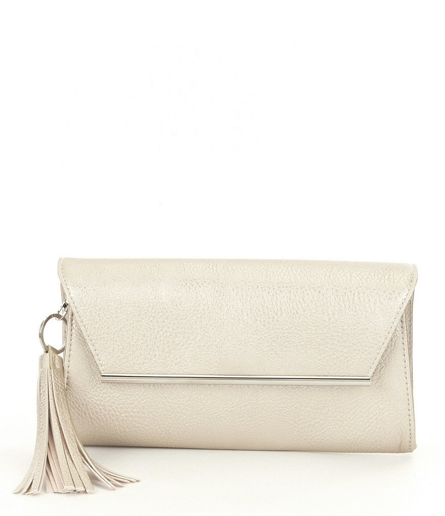 Kate Landry Tasseled Faux-Leather Clutch
