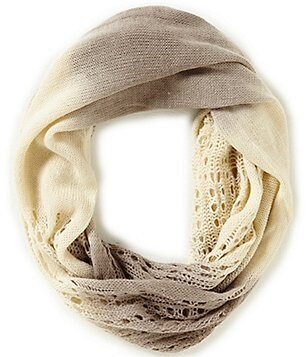 GB Girls Open Knit Ombre Infinity Scarf