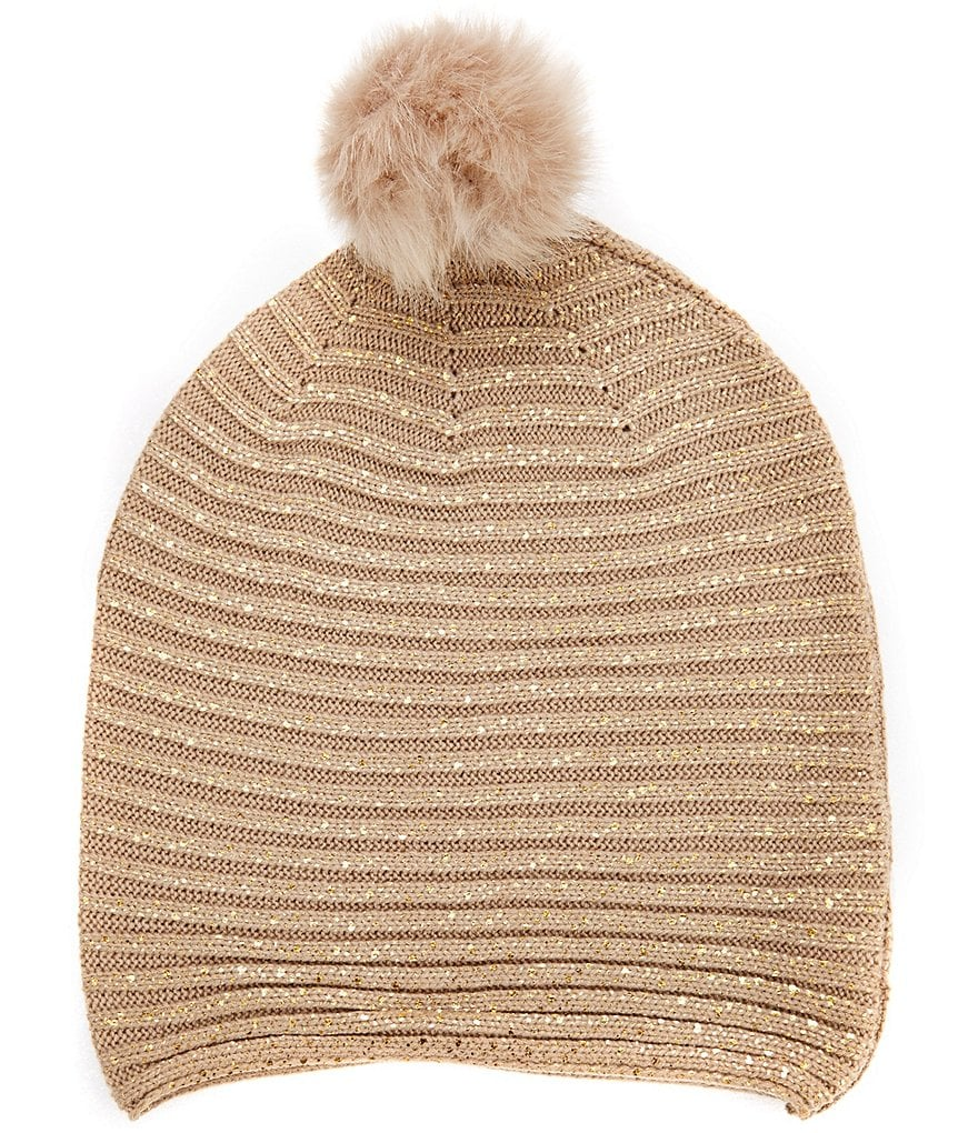 GB Girls Foil Faux Fur Top Print Hat