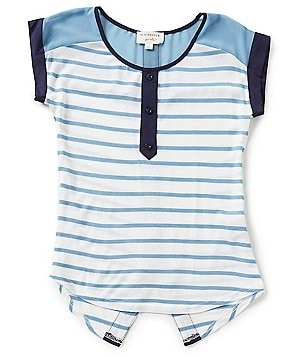 Blu Pepper Big Girls 7-16 Striped Button-Back Top