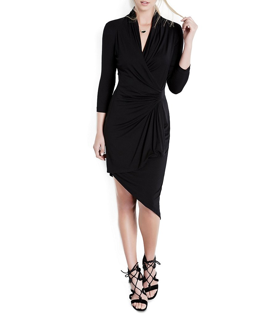 Karen Kane Asymmetrical Cascade Wrap Dress