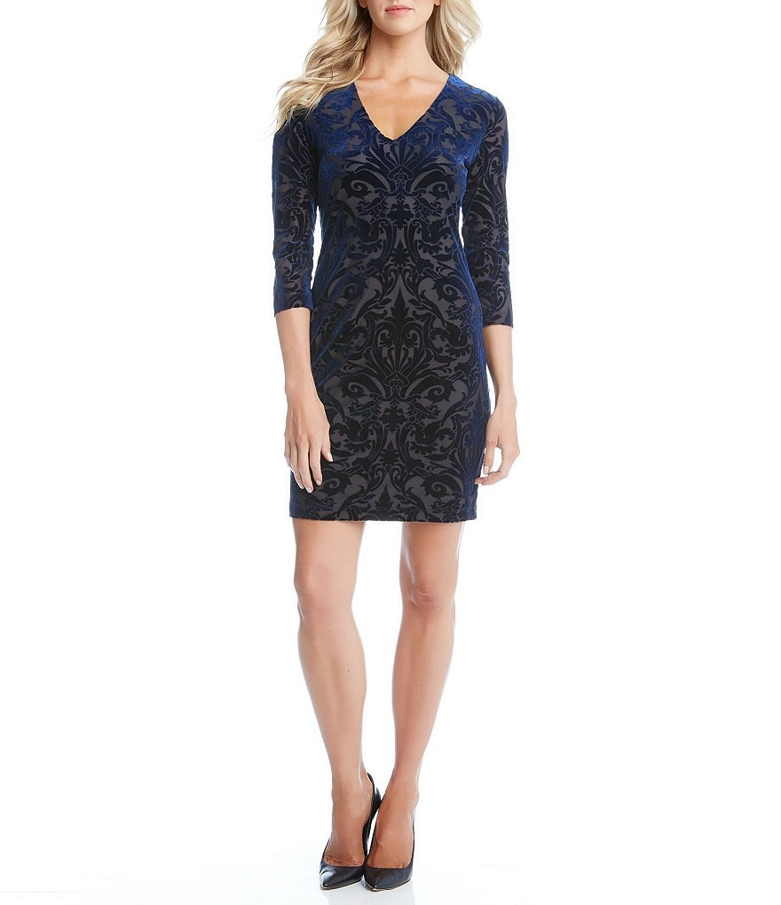 Karen Kane V-Neck 3/4 Sleeve Velvet Burnout Sheath Dress