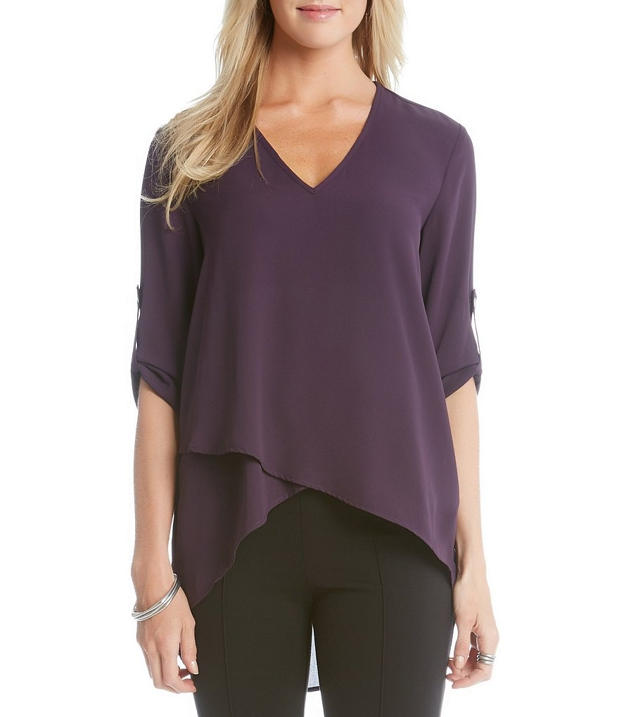 Karen Kane V-Neck Roll-Tab Sleeve Asymmetrical Hem Top