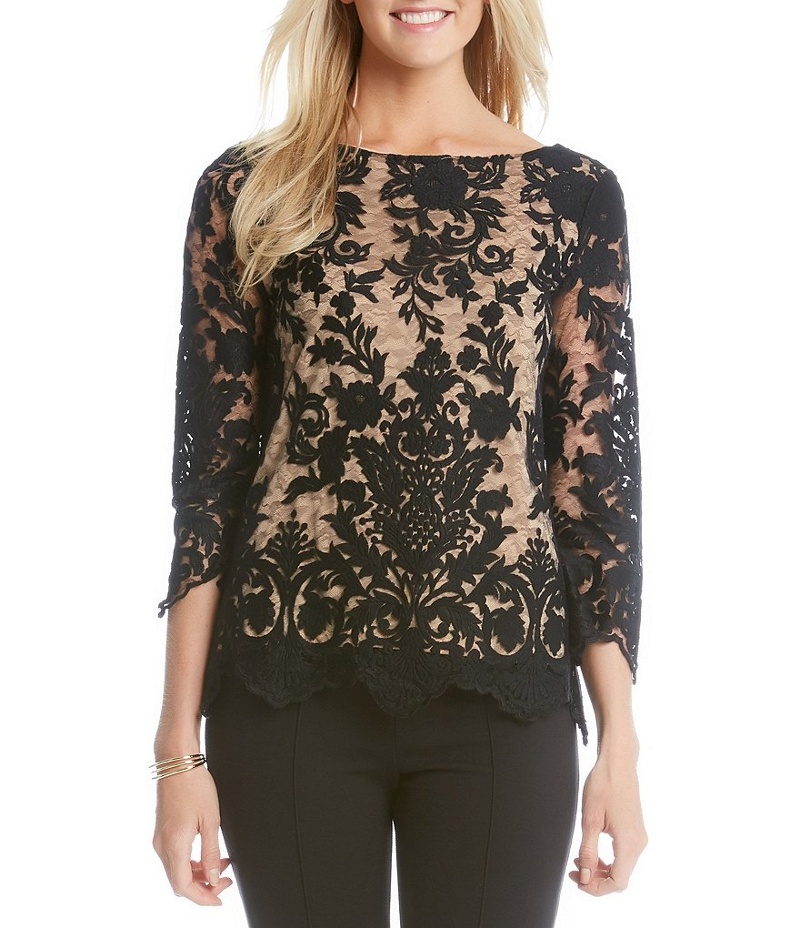 Karen Kane Embroidered Scallop Lace 3/4 Sleeve Top