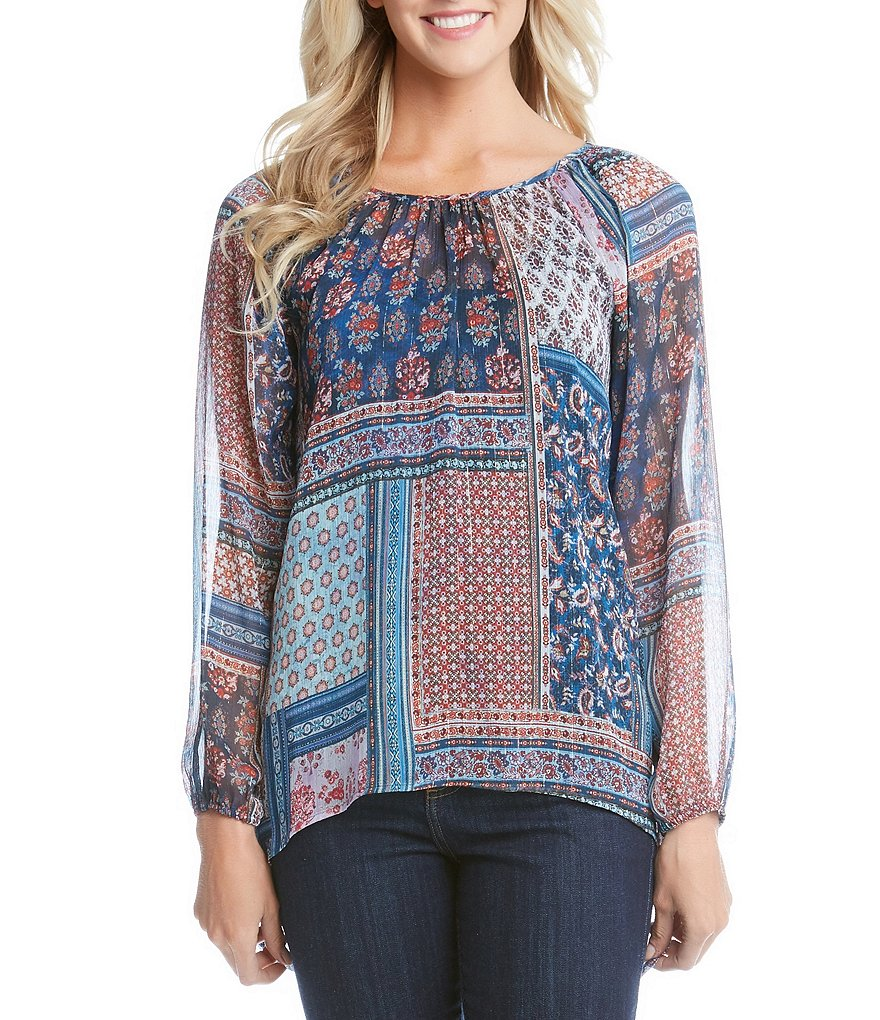 Karen Kane Paisley Patchwork Long Sleeve Hi-Lo Top