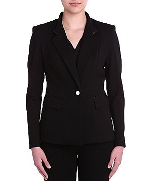 Peter Nygard Petite Faux Leather Trimmed Slim Blazer