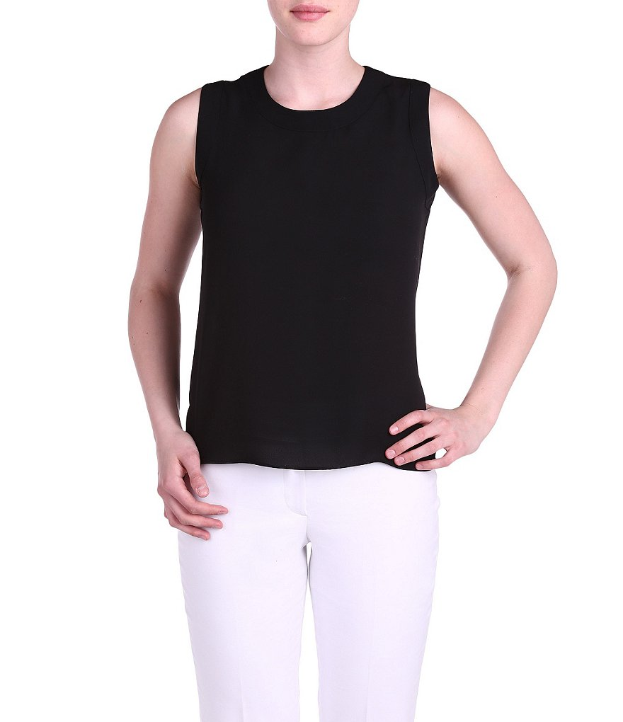 Peter Nygard Sleeveless Crew Neck Blouse