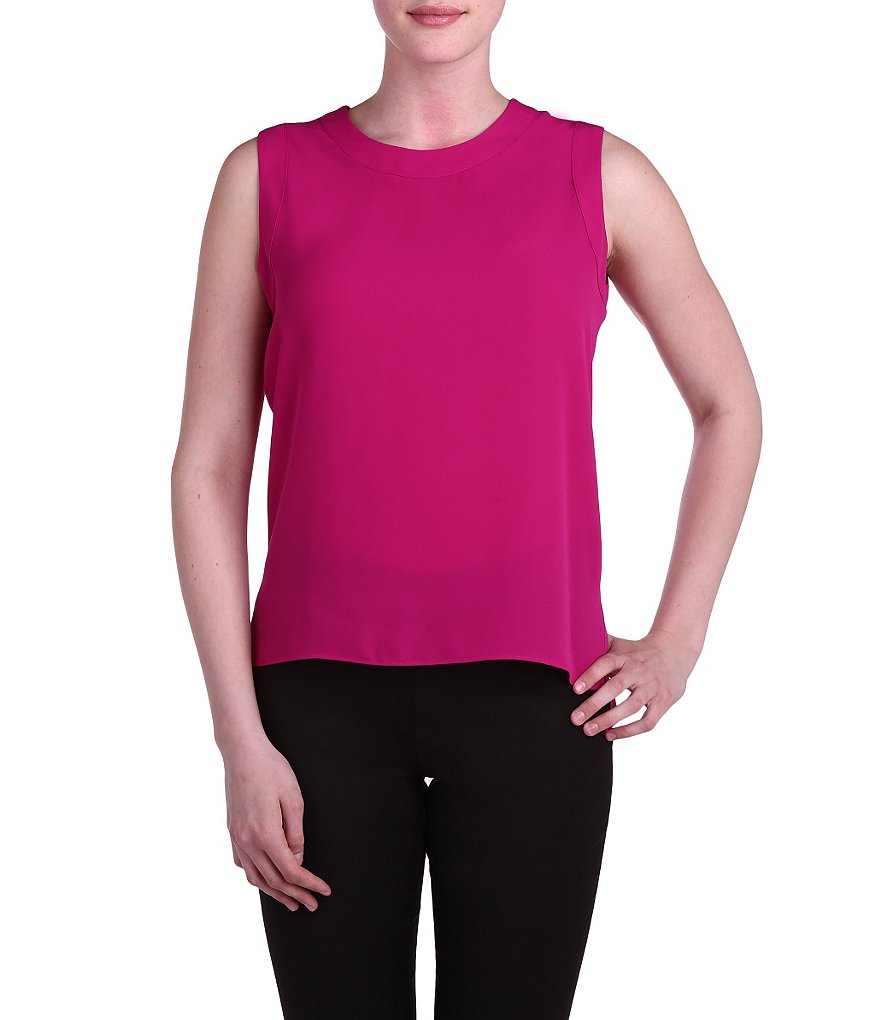 Peter Nygard Crew Neck Sleeveless Blouse