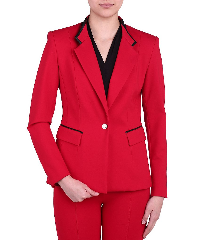 Peter Nygard Faux Leather Trimmed Slim Blazer