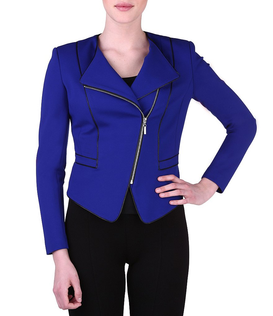 Peter Nygard Faux Leather Trimmed Asymmetrical Zip Jacket