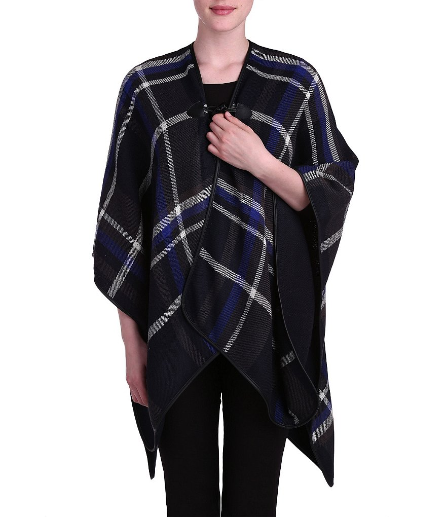 Peter Nygard Plaid Cape With Toggle Closure
