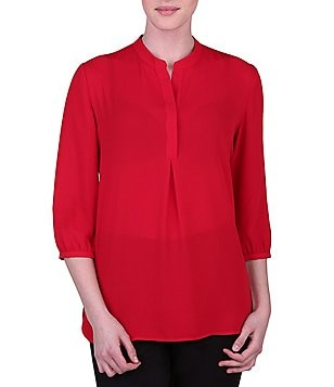 Peter Nygard Split V-Neck 3/4 Sleeve Blouse