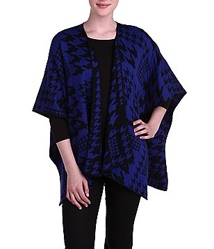Peter Nygard Blanket-Wrap Houndstooth Print Reversible Cape