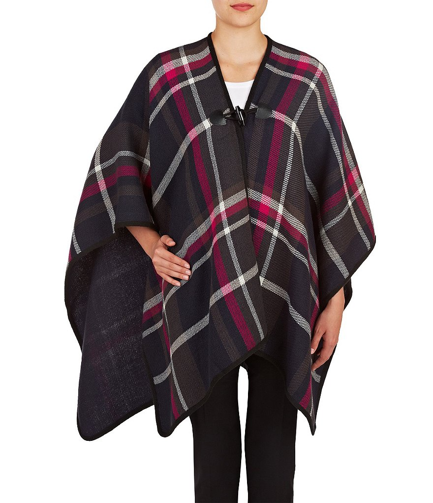 Peter Nygard Oversized Plaid Poncho Cape