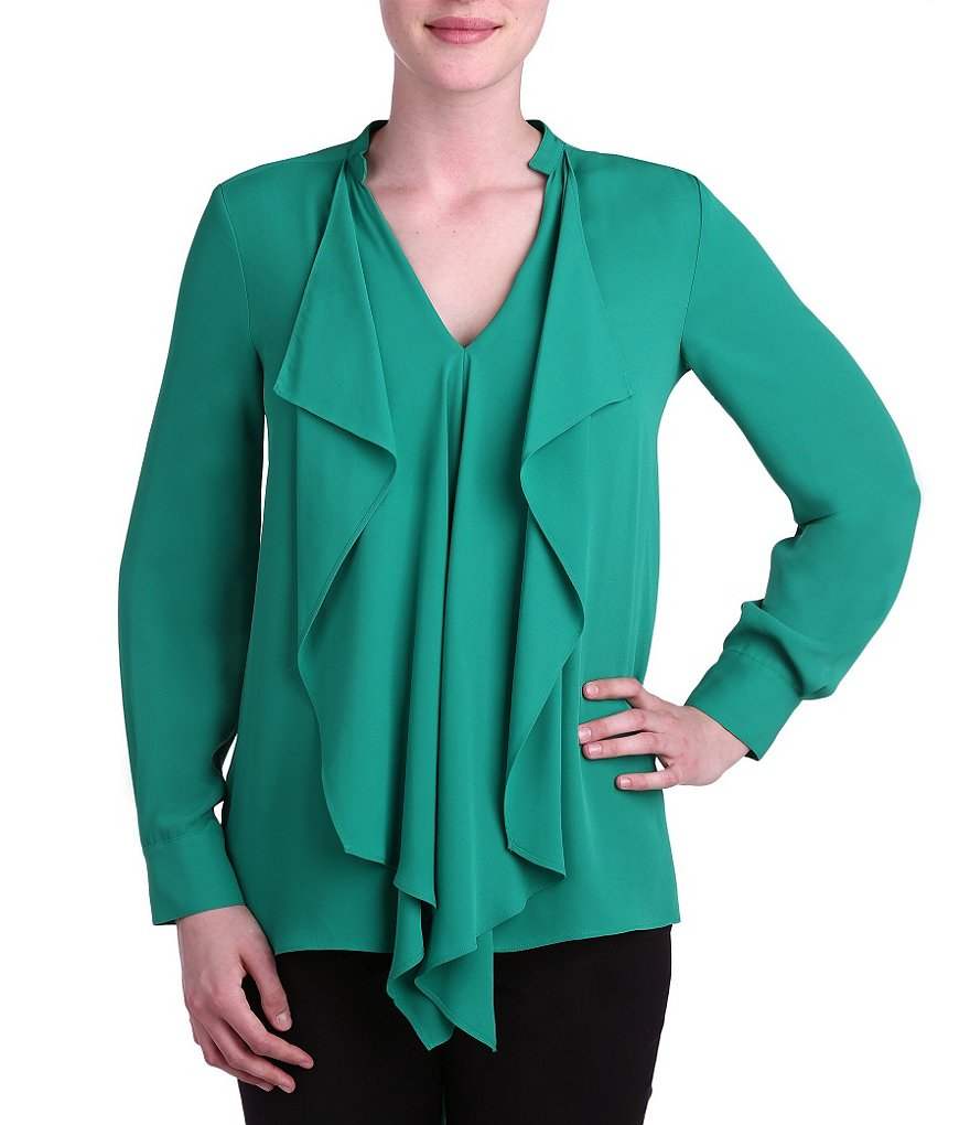Peter Nygard Ruffle Front Long Sleeve Blouse