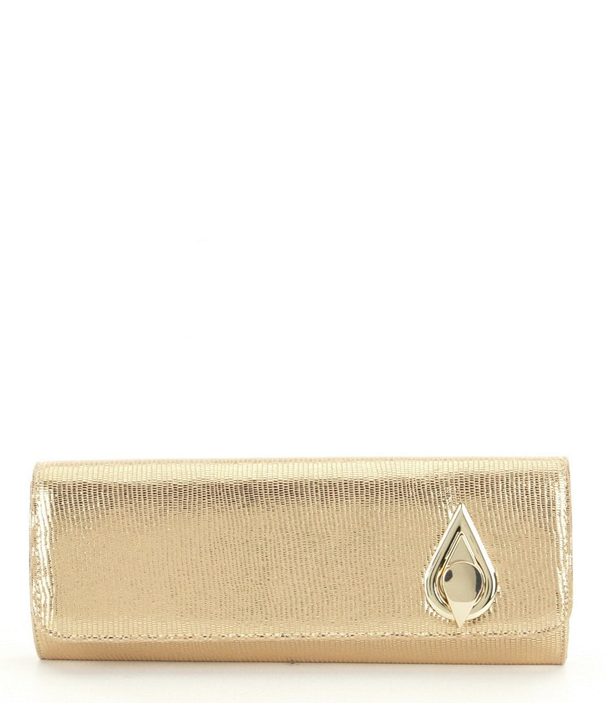 Kate Landry Metallic Teardrop Turn-Lock Clutch