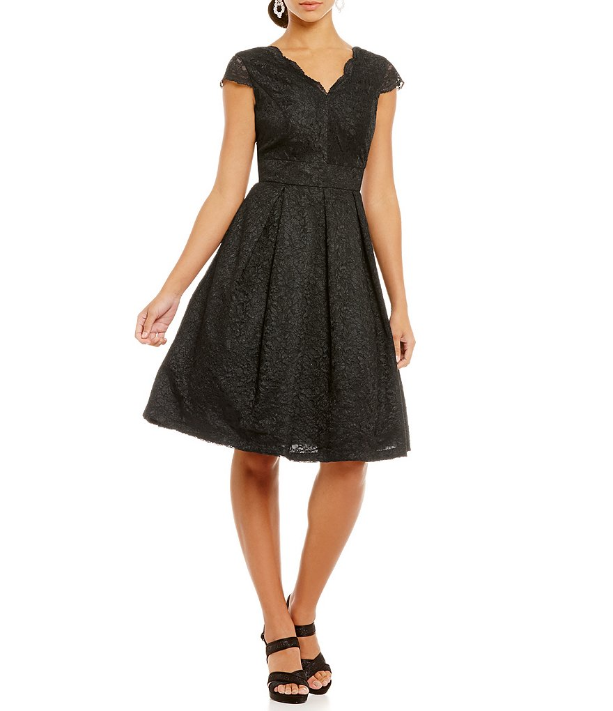 Leslie Fay V-Neck Lace Fit and Flare Dress