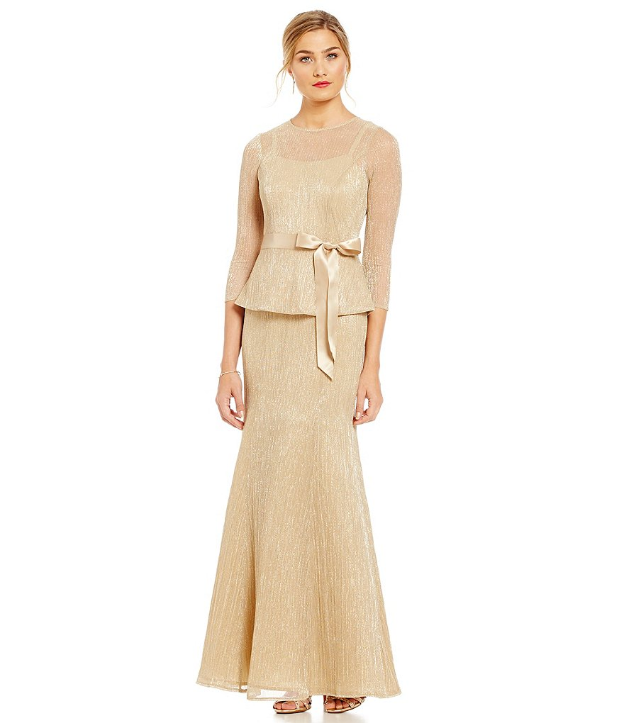 Leslie Fay Pleated Metallic Peplum Gown