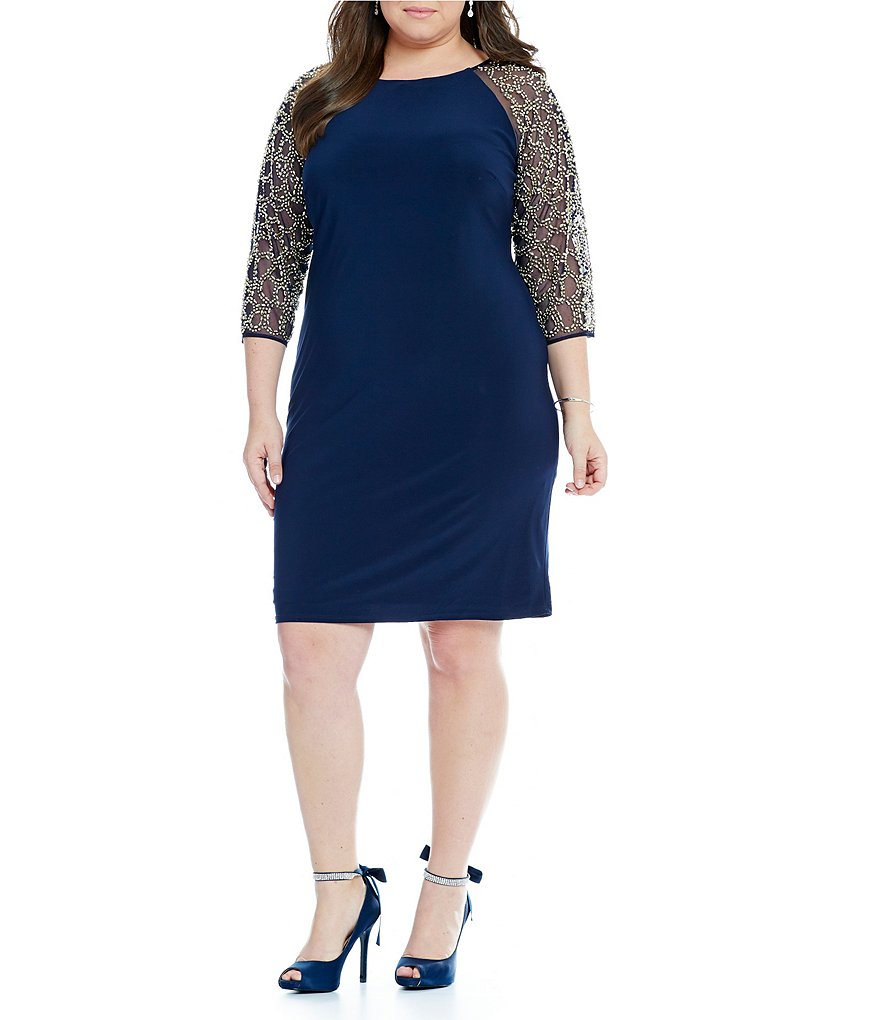Leslie Fay Plus Beaded Sleeve Sheath Dress
