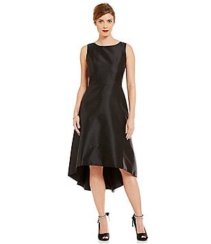Leslie Fay Round Neck Sleeveless Hi-Low Dress