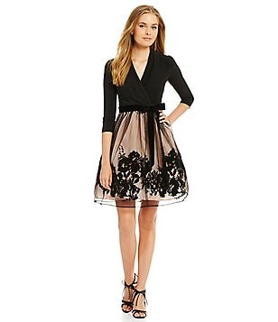 Leslie Fay 3/4 Sleeve Mesh Skirt Jersey Top Fit and Flare Dress