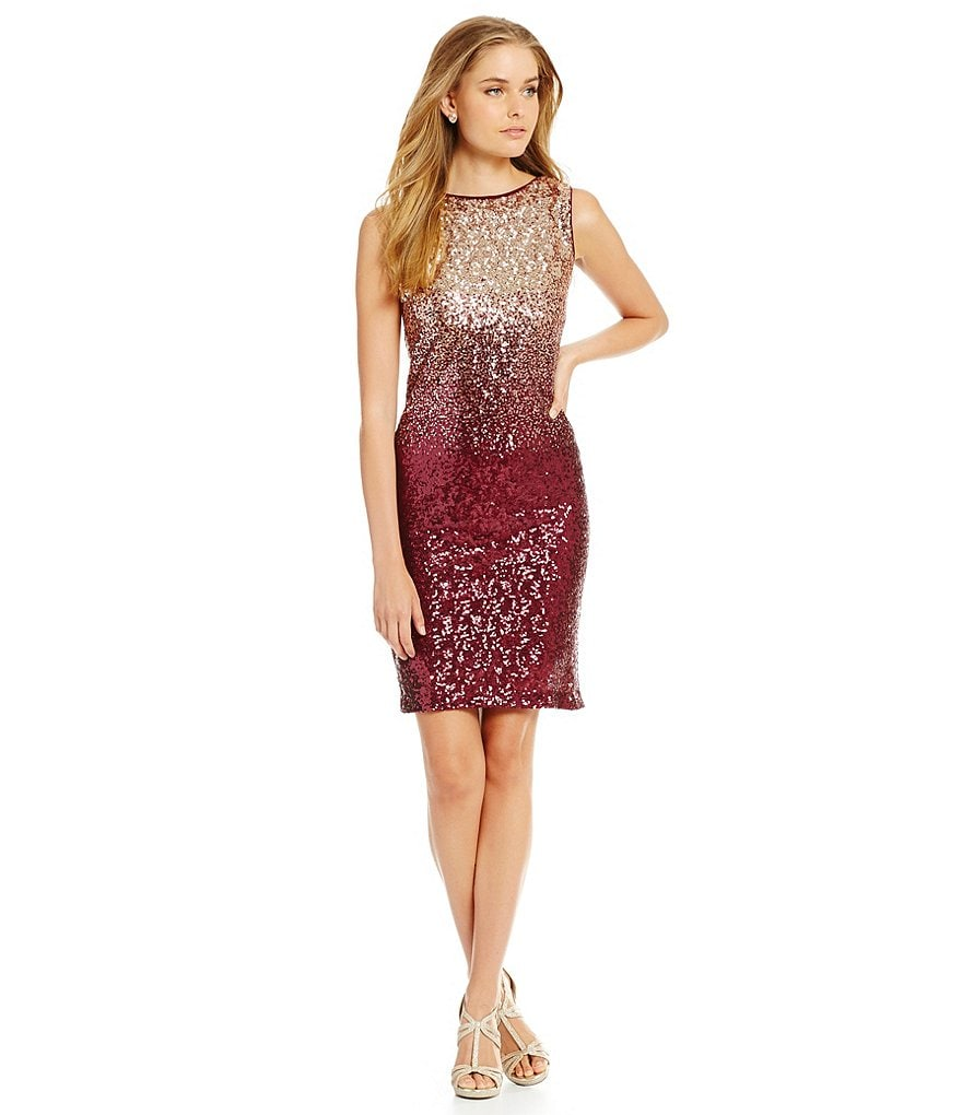 Leslie Fay Sleeveless Ombre Sequin Sheath Dress