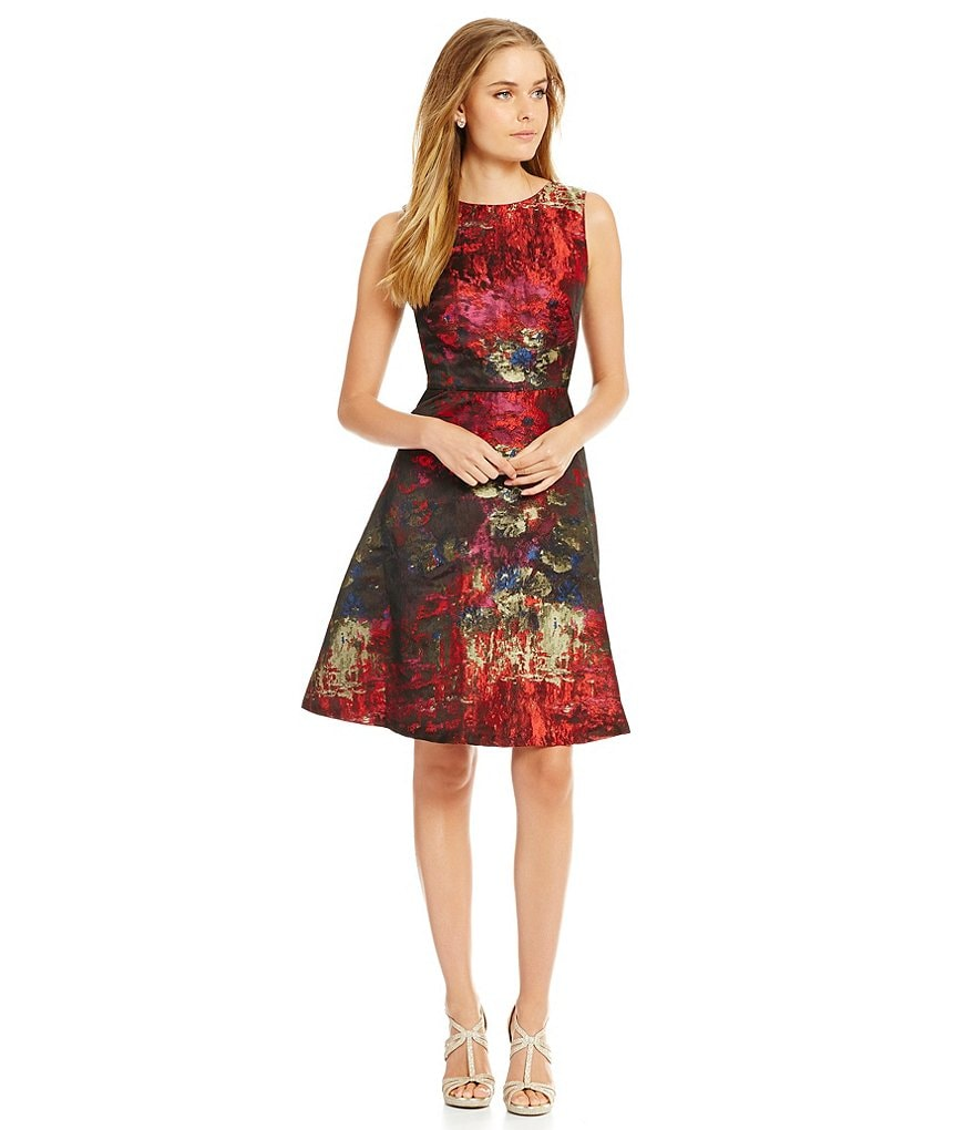 Leslie Fay Printed Jacquard Sleeveless Fit and Flare Dress
