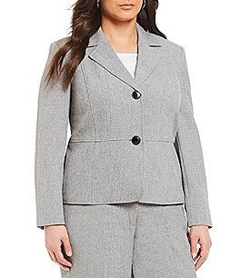 Kasper Plus Notch Collar 2 Button Jacket Image