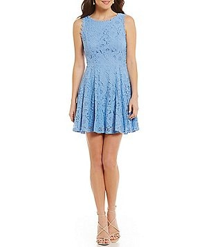 Jodi Kristopher Two-Tone Lace A-line Dress