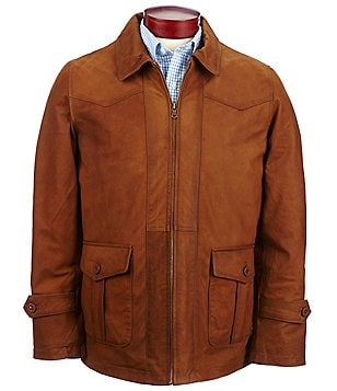 Robert Comstock Weathered-Look Oiled Leather Sport Coat