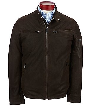 Robert Comstock Fuji Sueded Lambskin Leather Bomber Jacket