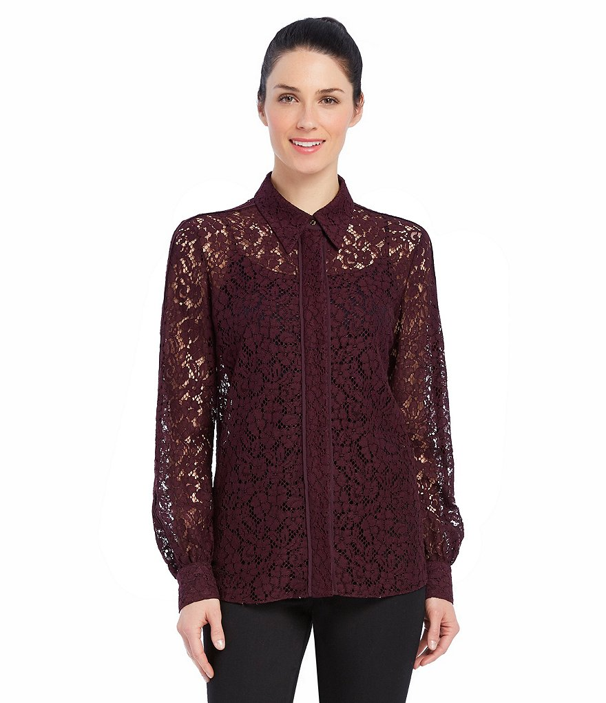 Ellen Tracy Piped Trim Corded Floral Lace Shirt