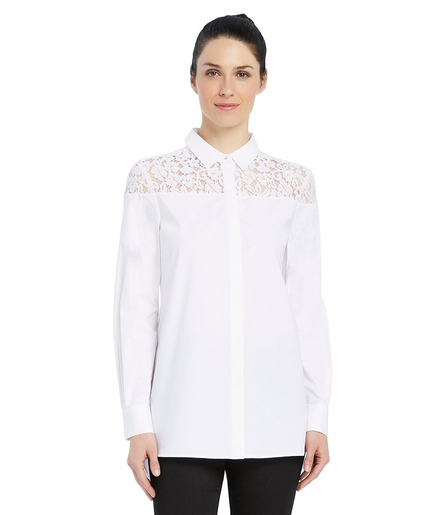Ellen Tracy Lace Yoke And Shoulder Stretch Poplin Shirt