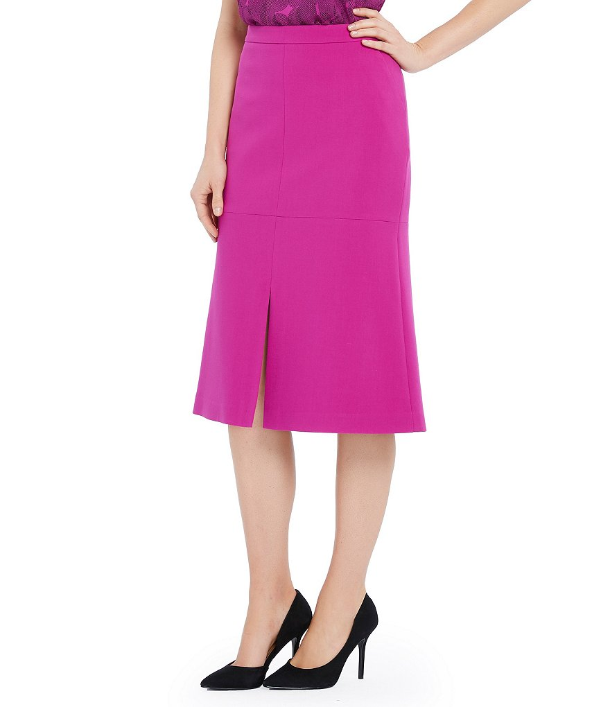 Ellen Tracy A-Line Center Slit Hem Midi Skirt