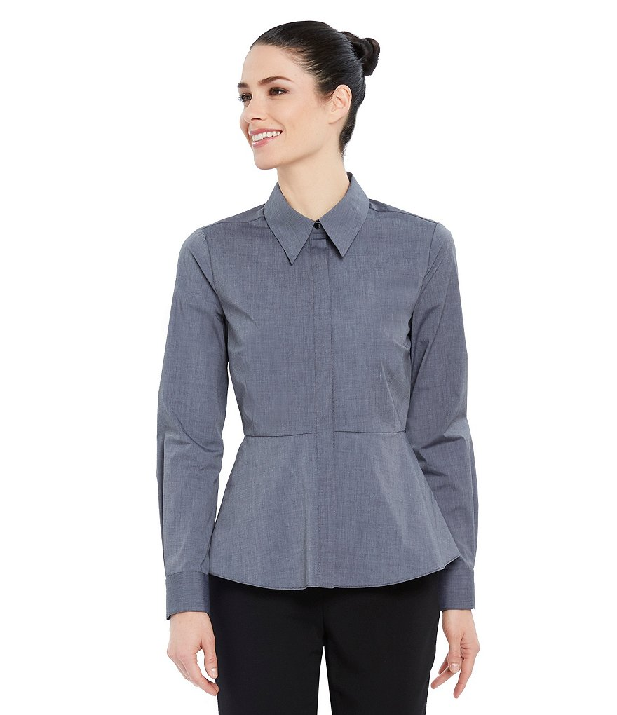 Ellen Tracy Point Collar Peplum Poplin Shirt