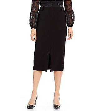 Ellen Tracy Double Weave Stretch Crepe Slit Front Hem Midi Skirt
