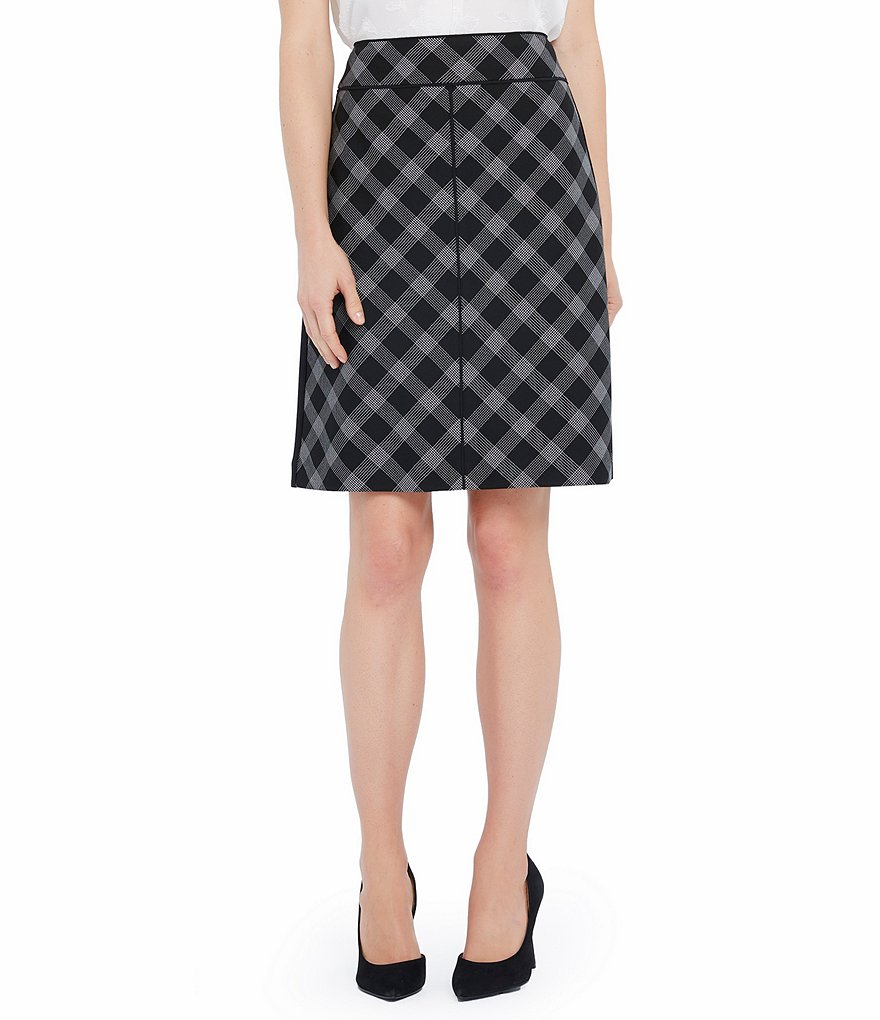 Ellen Tracy Windowpane Plaid A-Line Skirt