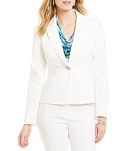 Kasper Petite 1 Button Double Weave Notch Lapel Jacket Image