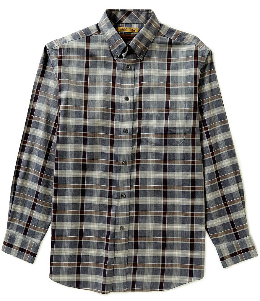 Gold Label Roundtree & Yorke Non-Iron Heather Plaid Sportshirt