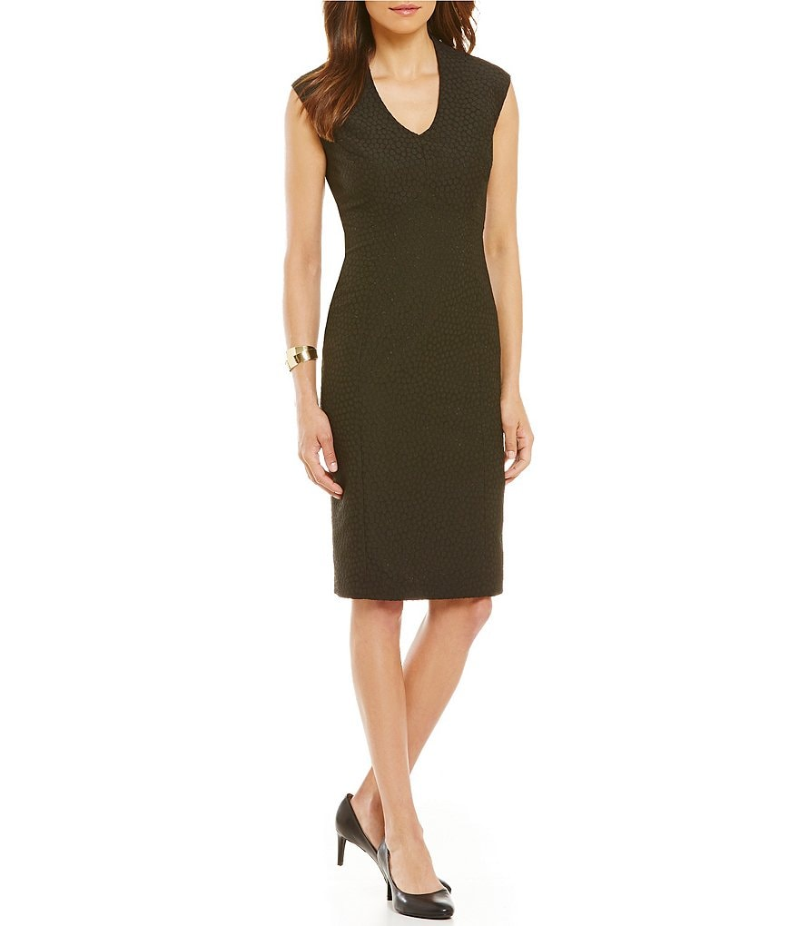 Kasper Jacquard V-Neck Dress