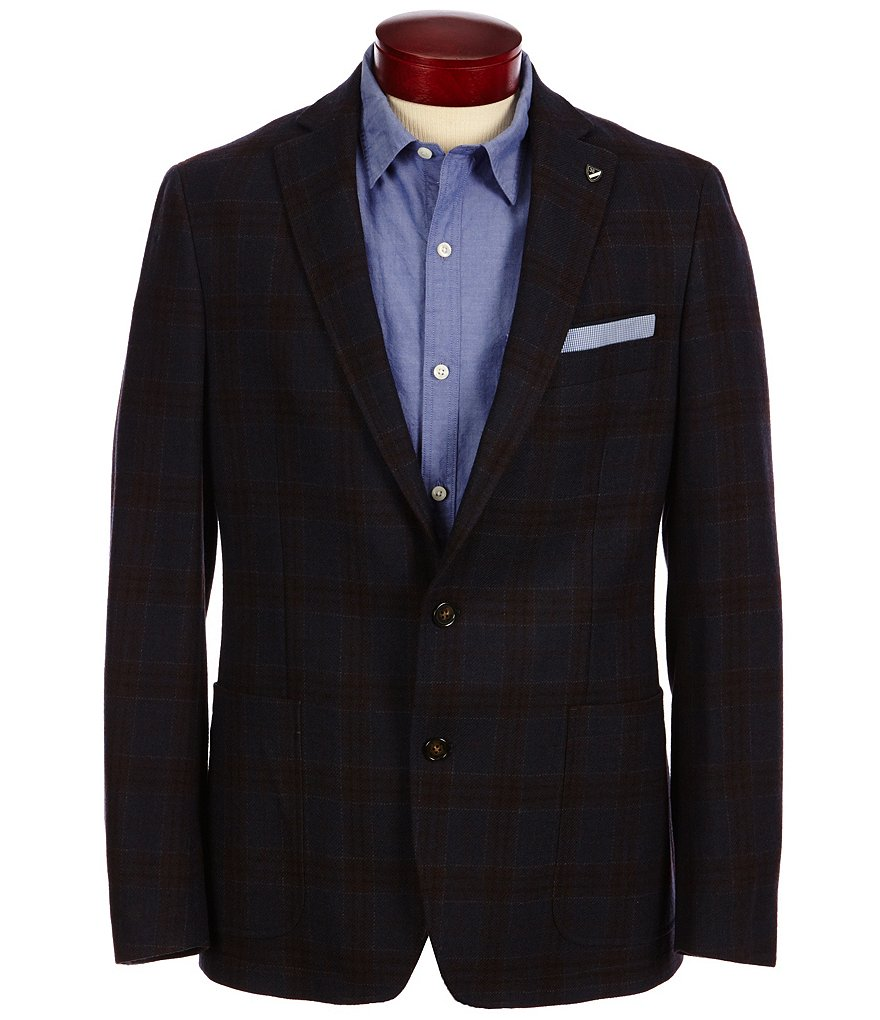 Cremieux Henry Plaid Elbow Patch Wool Blazer