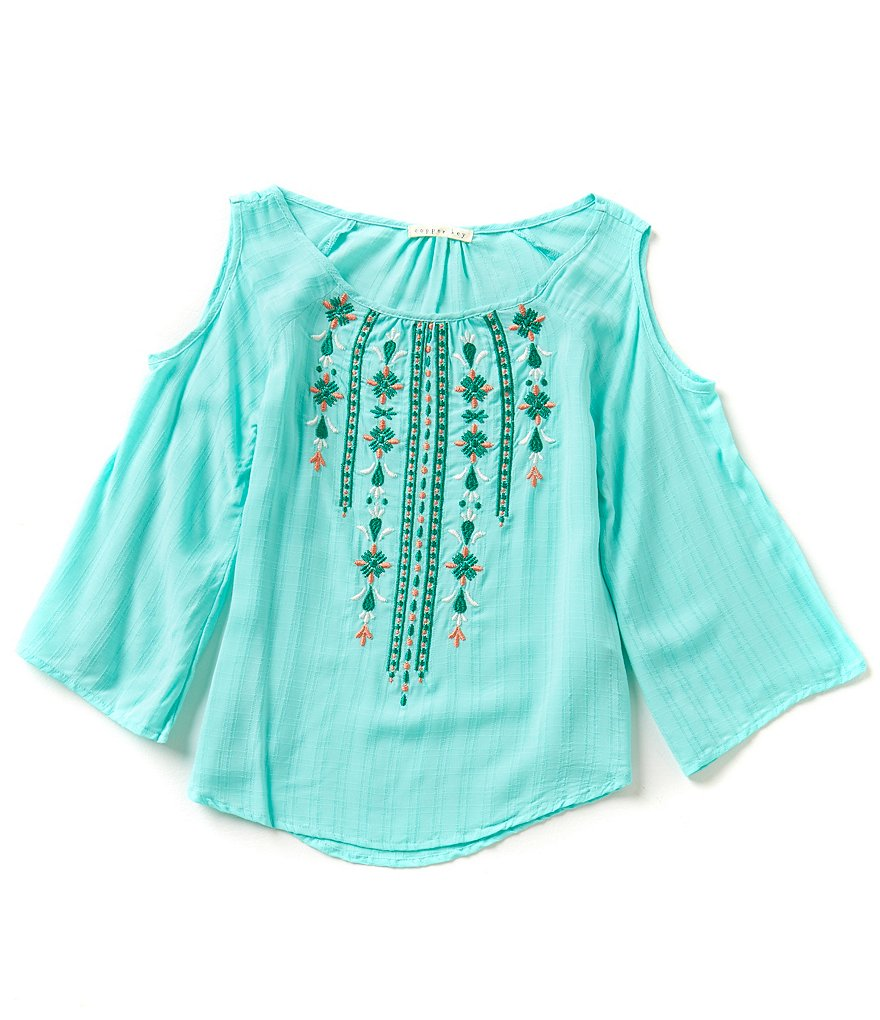 Copper Key Big Girls 7-16 Embroidered Cold-Shoulder Top
