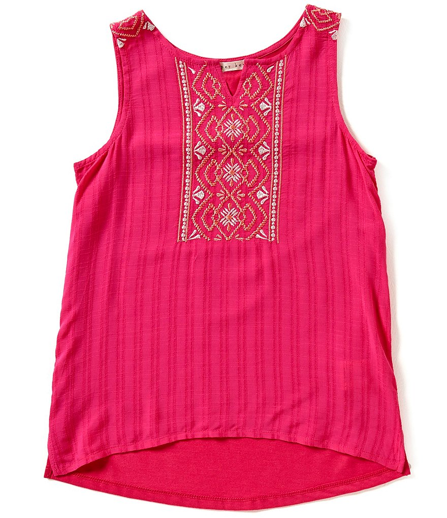 Copper Key Big Girls 7-16 Embroidered Knit Woven Top