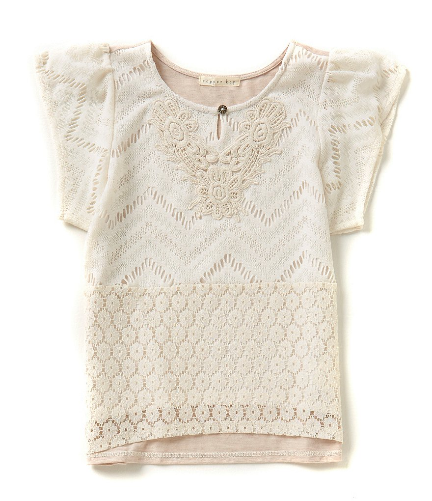 Copper Key Big Girls 7-16 Mixed Lace/Crochet Tee