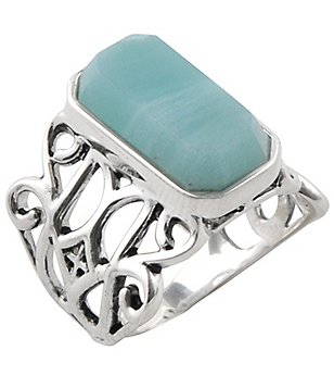 Calvary Sterling Silver Amazonite Stone Statement Ring