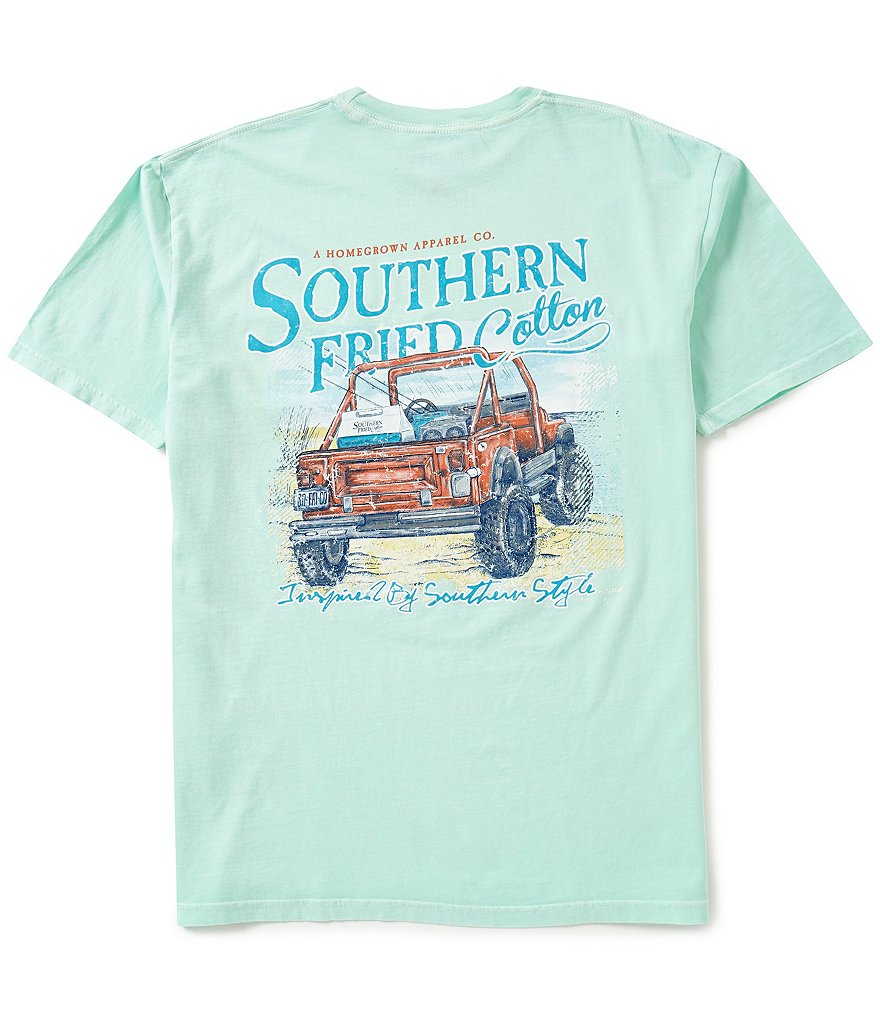 Southern Fried Cotton Mens Beach Cruisin Pocket Graphic Tee