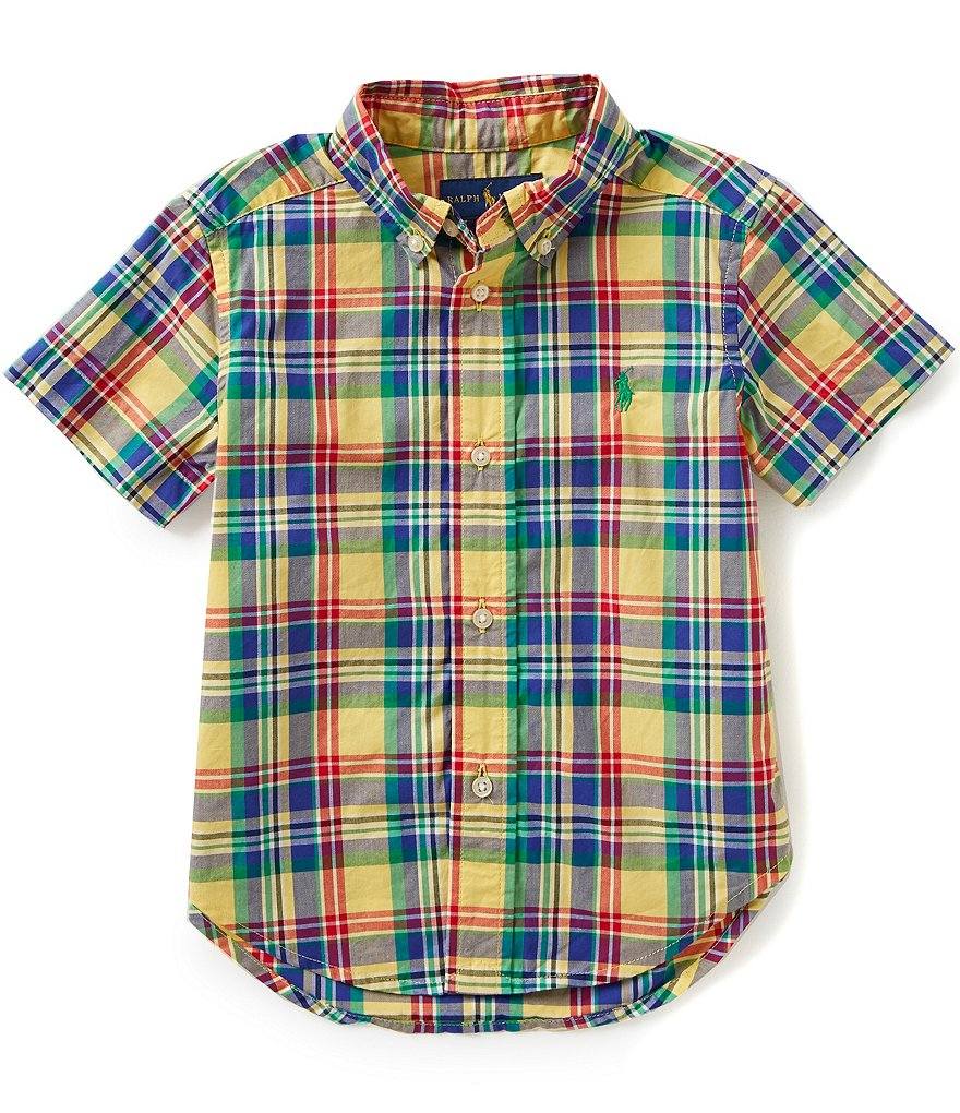 Ralph Lauren Childrenswear Big Boys 8-20 Blake Plaid Short-Sleeve Woven Shirt