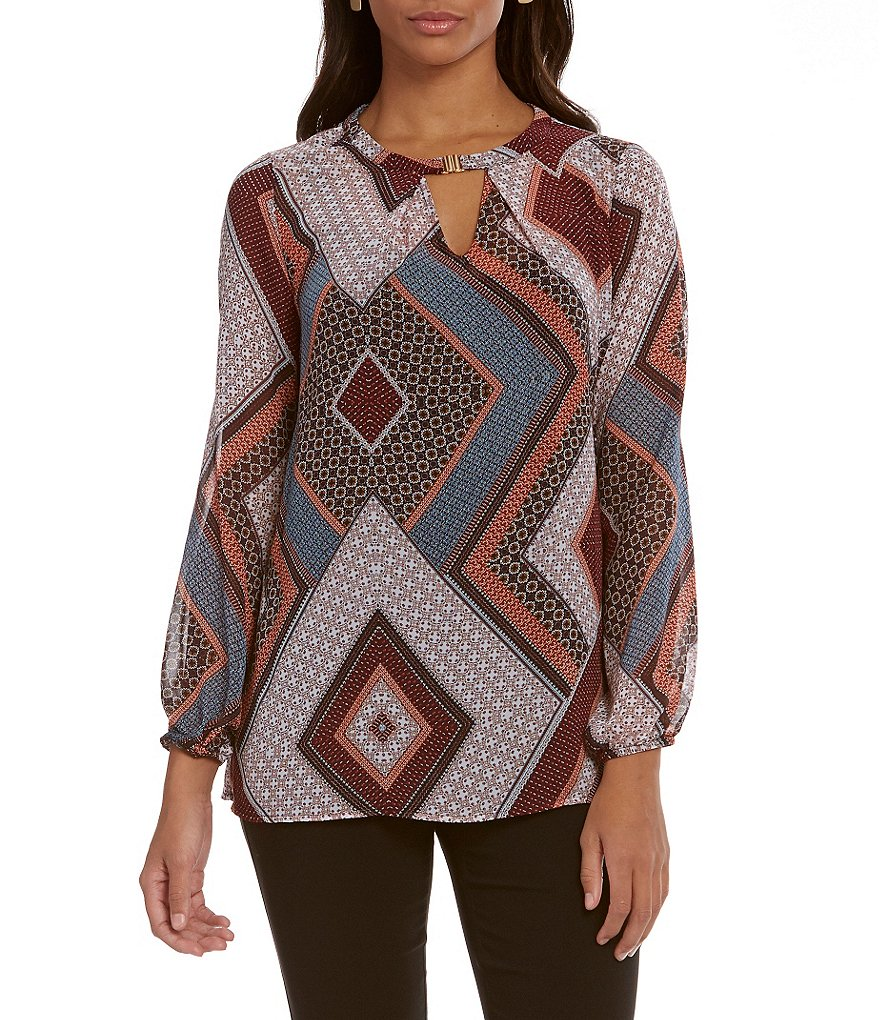 I.N. Studio Scarf Print Bar-Neck Woven Top